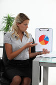Businesswoman presenting a pie chart — Stock Photo
