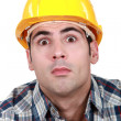 Foto de Stock  : Surprised builder