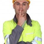 Pensive laborer — Stock Photo