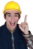 Tradesman with a brilliant idea — Stock Photo