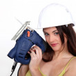 Womwith chain saw — Stock Photo #16601937
