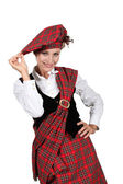 Woman wearing a kilt — Stock Photo