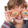 Stock Photo: Girl with eggs for eyes