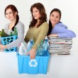 Young women waste sorting - Stockfoto