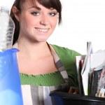 Girl sorting her garbage — Stock Photo