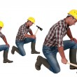 Construction worker in different poses with an axe — Stock Photo