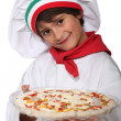 Stock Photo: Horizontal photo of child with pizza