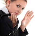 Businesswoman waving goodbye — Stock Photo