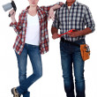 Bricklayer and welder — Stock Photo