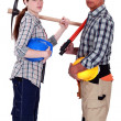 Male and female manual workers — Foto Stock