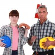 Father and daughter roofers — Stock Photo #16619863