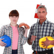 Foto Stock: Father and daughter roofers