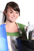 Girl sorting her garbage — Stock Photo