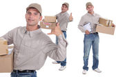 Man delivering parcels — Stock Photo