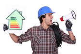 Talking about energy efficiency — Stock Photo