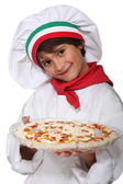 Horizontal photo of child with pizza — Stock Photo