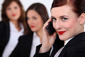 Three businesswomen stood together — Stock Photo