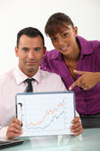 Business partners happy with annual performance — Stock Photo