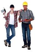 Bricklayer and welder — Stock Photo
