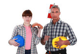 Father and daughter roofers — Stock Photo