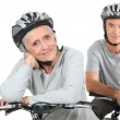 Stock Photo: Senior couple on bicycle