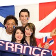 Happy French football supporters — Stock Photo