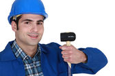 Craftsman with mallet in hand — Stock Photo