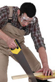 A carpenter sawing. — Stock Photo