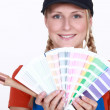 Stock Photo: Decorator with a color chart