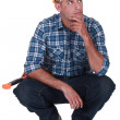 Pensive laborer — Stock Photo