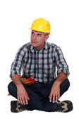A pensive construction worker. — Stock Photo