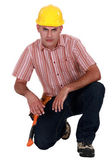 Portrait of a handyman frowning — Stock Photo