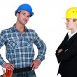 Businesswoman and craftsman posing together — Stock Photo #16763295