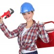 Stock Photo: A female mechanic.