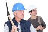 Trabalhadores de demolição — Foto Stock