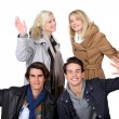 Two young couples posing together — Stock Photo