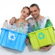 Stock Photo: Couple waste sorting