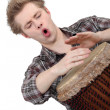 Stock Photo: Oblique image of boy playing drum