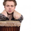 Stock Photo: Mposing with his djembe
