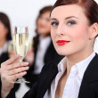 Businesswomen with champagne — Stock Photo #16783839
