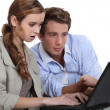 Couple surfing the internet — Stock Photo