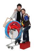 Couple tool shopping. — Stock Photo