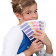 Foto Stock: Little girl with pain swatch