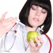 Stock Photo: Doctor injecting apple
