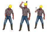 Człowiek za pomocą topora — Zdjęcie stockowe