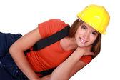 Cute female laborer — Stock Photo