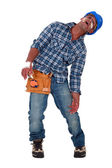 Injured craftsman covered with plasters — Stock Photo