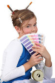 Little girl with pain swatch — Stock Photo