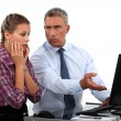Boss angry with secretary — Stockfoto
