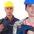 Father and daughter doing DIY together — Stock Photo